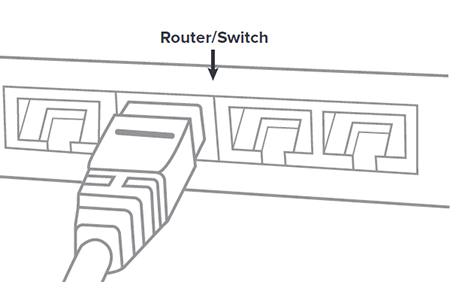 A network cable connecting to a port on a router or switch.