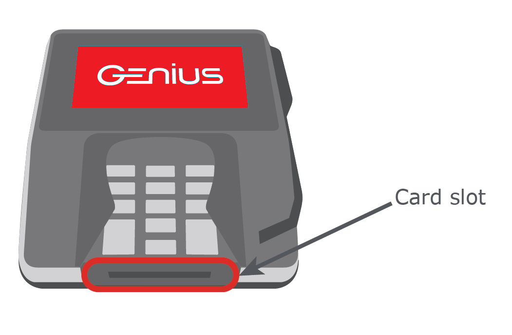 The Genius device with a call out that highlights the chip card slot.