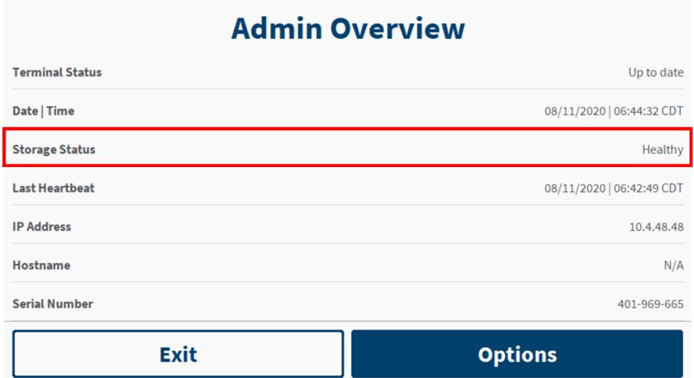 Admin screen showing the Storage Status