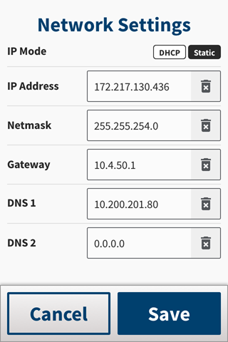 The Network Configuration screen with Static IP Mode selected.