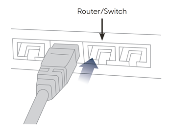 The network cable connecting to router or switch.