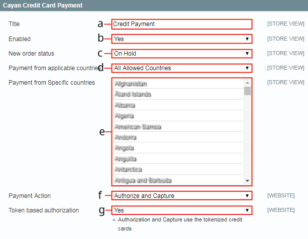 The Credit Card Payment section with call outs for the text boxes that you need to fill in.