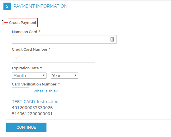 The Payment Information screen with a call out that shows where the title displays.