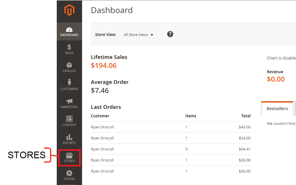 The Magento Admin Dashboard with the Stores button highlighted on the side menu.