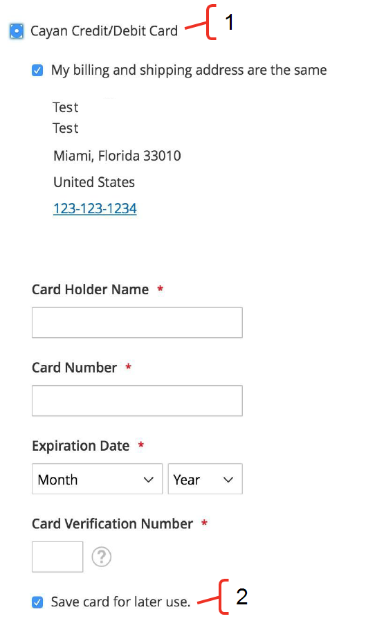 The card payment form.