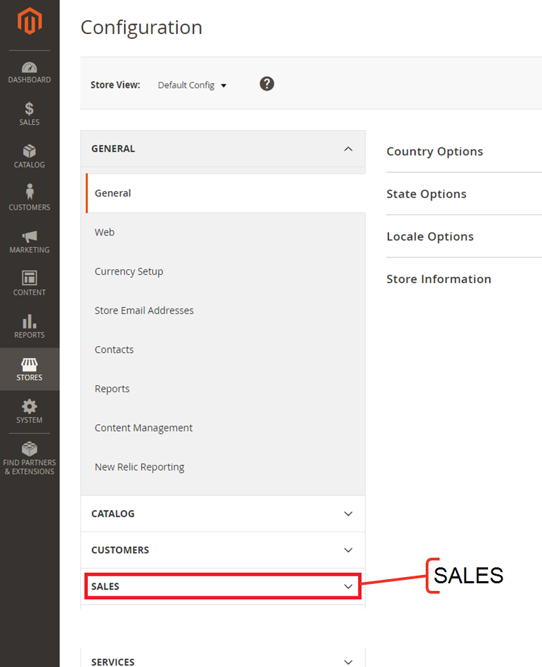 The Configuration menu with a call out for the Sales dropdown menu.