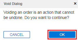 A Void Dialog box stating that voiding an order cannot be undone.