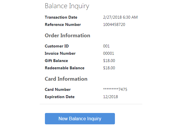 The Balance Inquiry screen.