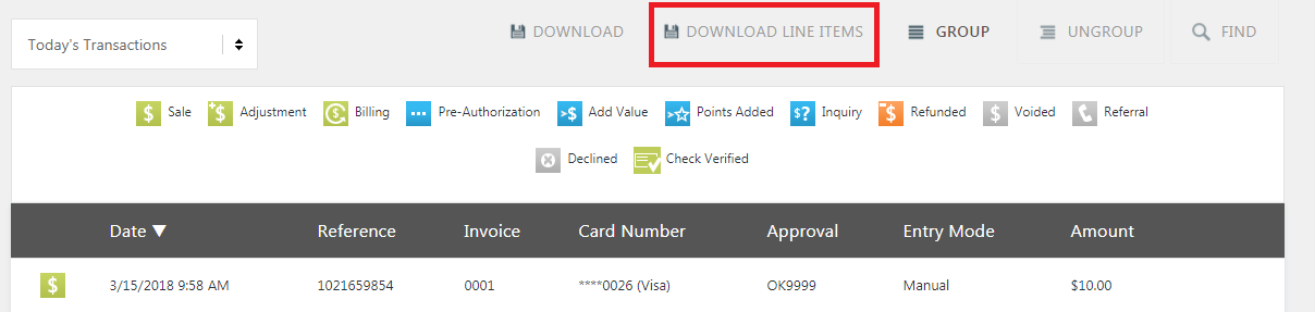 Example search results with the DOWNLOAD LINE ITEMS button highlighted.