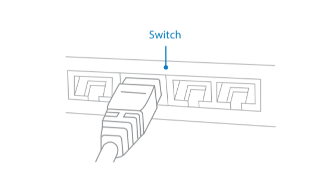 Inserting the Ethernet cable into a router or switch.