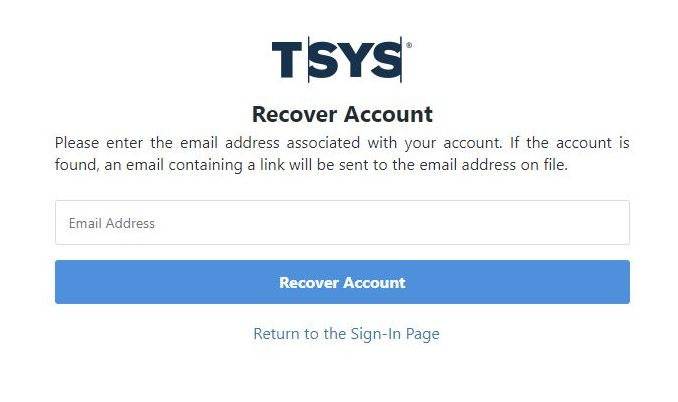 The recover account screen