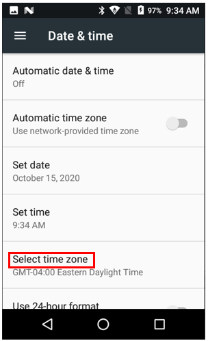 Select time zone.