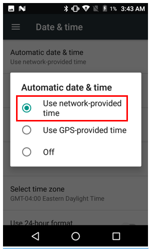 Select use network provided time.