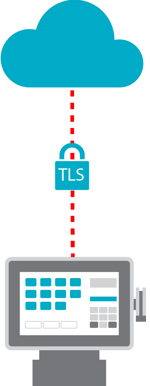 Diagram of TLS between the cloud and computer