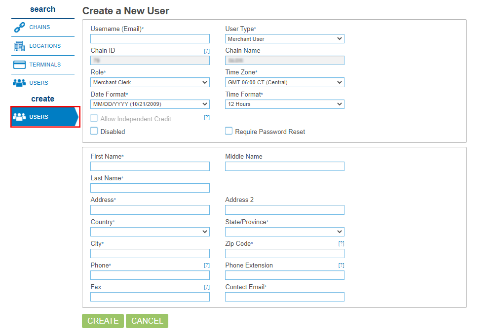 Screenshot that shows the create USERS button.