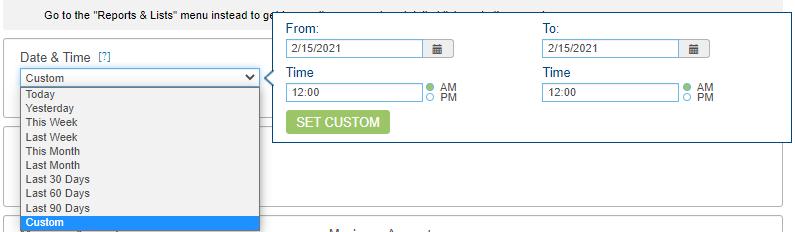 Screenshot that shows the custom date and time drop down menu and calendar.